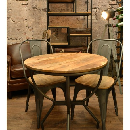 Industrial style metal and wood bistro table with curved tubalar legs and solid wood top