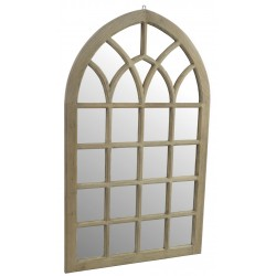 Georgian window style mirror with a gothic arch shape and stripped back wood finish