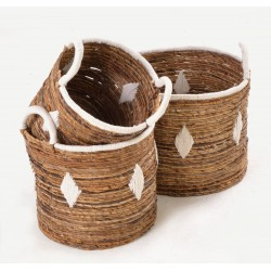 Set of 3 hand woven baskets with white diamond motif in three stackable sizes