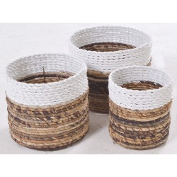 Set of 2 hand woven stackable baskets with with deep rim and natural bottoms