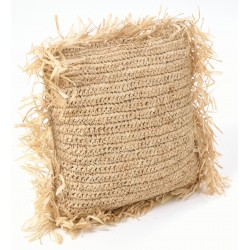 Square hand woven cushion with tasselled edges
