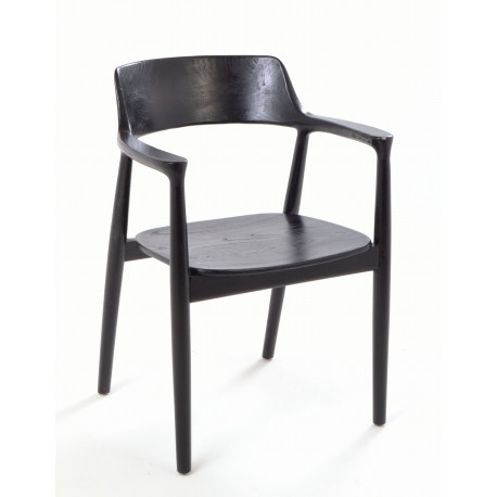 Solid wood carver chair curved design to the arms and back and solid wood seat finished in a black painted finish