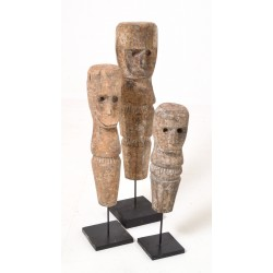 Set of 3 head and body statues on black stand