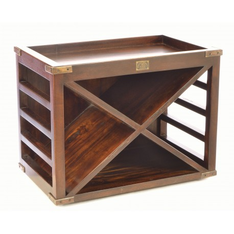 Solid mahogany dark wood 12 bottle wine rack with angled cross storage area and brass corner strengtheners