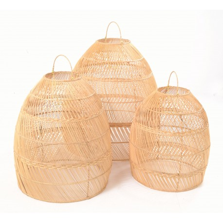 Tall bulbous conical shaped lightshades made from ratan and left with the natural colourning