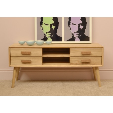 Retro mid century style TV unit or side table with wooden handled four drawers and two central shelves